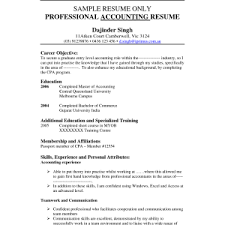 Professional Accounting Resume Samples by Accounting Resume Objective Cv Resume Ideas