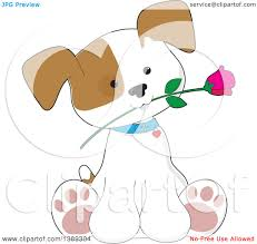 clipart of a cartoon cute puppy dog sitting with a rose in his