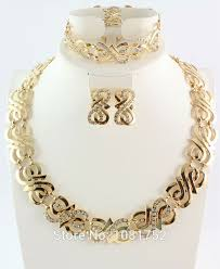 bridal gold set free shipping wedding gold jewelry sets gold plated jewelry sets