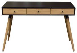 Mid Century Desk Sonic Black Oak 2 Tone Retro 3 Drawer Desk Table Midcentury
