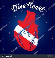 premium vector label scuba diving heart stock vector 252394396
