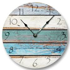 Wall Clocks Canada Home Decor by Weathered Beachy Boards Wall Clock Ocean Colors Old Paint