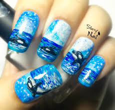orcas in the ocean freehand nail art tutorial starrynail