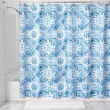 Cloth Shower Curtains Spanish Tile Fabric Shower Curtain Liner Curtainshop Com