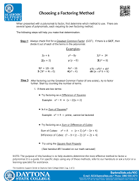Factoring X2 Bx C Worksheet Choosing A Factoring Method