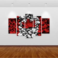 flag decorations for home new 5 pieces sets canvas canvas paintings canada flag wall