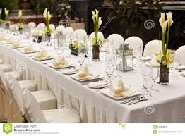 Formal Table Setting Formal Table Setting Outdoor Garden Style Table Decoration Stock