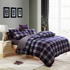Japanese Comforter Set Modern Plaid Purple Blue Comforter Duvet Cover Set 4pcs 100
