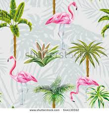 wallpaper with pink flamingos beautiful tropic birds pink flamingos palm stock vector 644130592