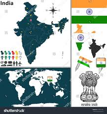 India On World Map Vector Map India Regions Coat Arms Stock Vector 173015762