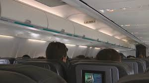 Airplane Interior Flying On A Commercial Airline Aircraft Interior Passengers Sat