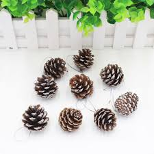 9pcs christmas pine cones with string wood pinecone christmas tree
