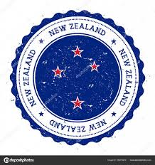 Blue Flag Stars In Circle Grunge Rubber Stamp With New Zealand Flag Vintage Travel Stamp