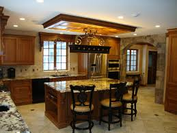 elegant kitchen with drop down ceiling combined wooden paneling