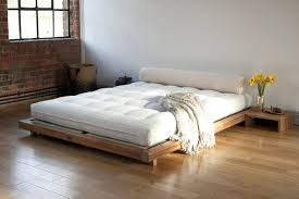 Bedroom Decor Without Headboard Bedroom Oak Wood Bed Frame With Japanese Style Platform Using