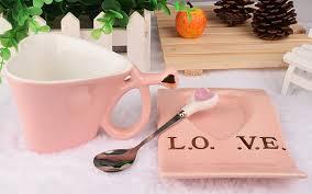 Heart Shaped Mug Unique Pink Heart Shaped Mug