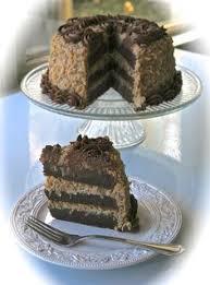 triple layer german chocolate fudge torte with espresso let them