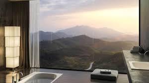 modern bathroom design ideas wall mounted clear glass mirror wall