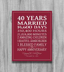 anniversary gifts personalized 40th anniversary gift for parents personalized canvas print 40