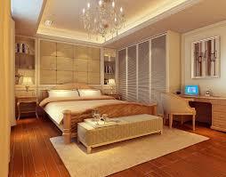 Teak Bed American Modern Bedroom Interior Design With Crystal Chandelier