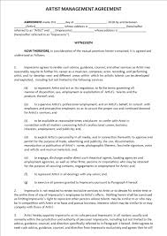 artist and impresario contract templates business templates