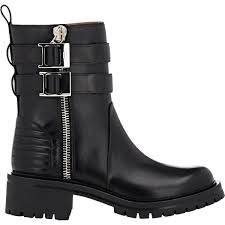 brown moto boots givenchy double zip moto boots in black lyst