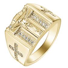 wedding gold rings gold rings jesus design cross carved for men women anillos white