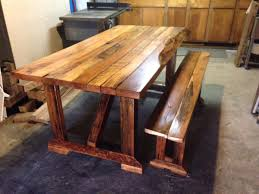 oak table u0026 matching bench from reclaimed lumber w live edges in