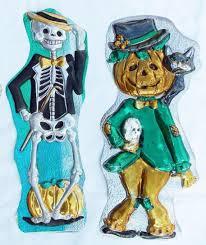 2 Vintage 1960 U0027s Plastic Halloween Decorations Skeleton