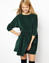 asos asos cord smock dress in green at asos shopping list