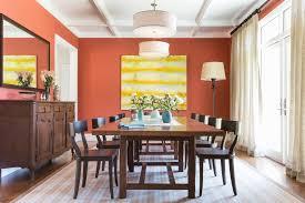 Seattle Burnt Orange Paint Dining Room Traditional With Crown - Burnt orange dining room