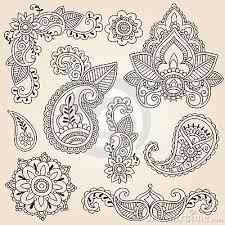 henna doodles mehndi design elements set from