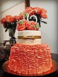 allison u0027s sweet 16 cake coral ruffles glitter bows silk mint