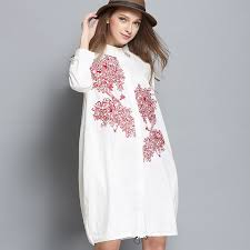 blouse dress 2017 cotton embroidery blouse dress plus size
