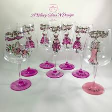 wine glass party favor painted wedding bridesmaid wine glasses a wincy