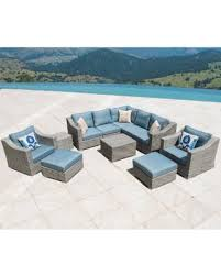 Wicker Patio Furniture Set Amazing Deal On Corvus Martinka 11 Grey And Blue Wicker