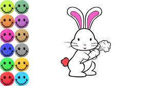 coloring pages rabbit drawing bunny for kids learn colors