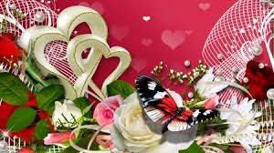 Roses And Butterflies - hearts roses and butterfly flowers nature background
