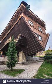 upside down house in centre for education and regional promotion stock photo upside down house in centre for education and regional promotion in szymbark village kashubia region of pomeranian voivodeship in poland