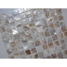 Of Pearl Tile Shower Liner Wall Backsplash Square Bathroom Shell - Shower backsplash