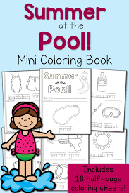 mini coloring book summer coloring pages at the pool mamas learning corner