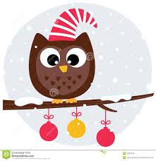owl christmas christmas owl sitting on the branch stock photo image 28259100