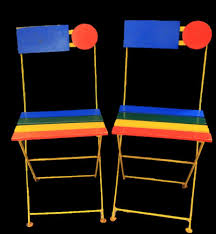 Blue Bistro Chairs Vintage French Bistro Chairs Red Blue Yellow Metal Wood Folding