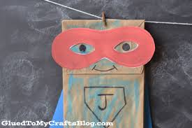 paper bag superhero kid craft idea free mask printable