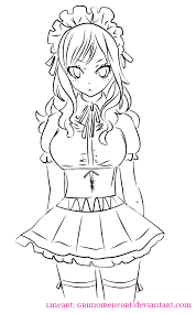 juvia maid lineart by grimoireheart on deviantart