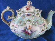 Nippon Hand Painted Vase Antique Hand Painted Nippon Moriage Teapot Chocolate Pots