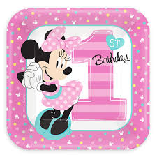 baby minnie mouse 1st birthday minnie mouse 1st birthday dessert plates shopdisney
