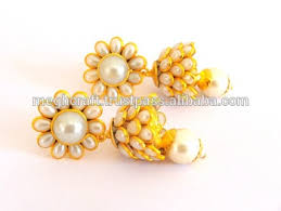 pachi work earrings multi layer indian pachi work jhumkas south indian pachi jhumka