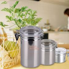 Stainless Steel Canisters Kitchen Stainless Steel Airtight Sealed Canister Coffee Flour Sugar Tea