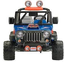 jeep grey blue power wheels wheels jeep wrangler 12 volt battery powered ride